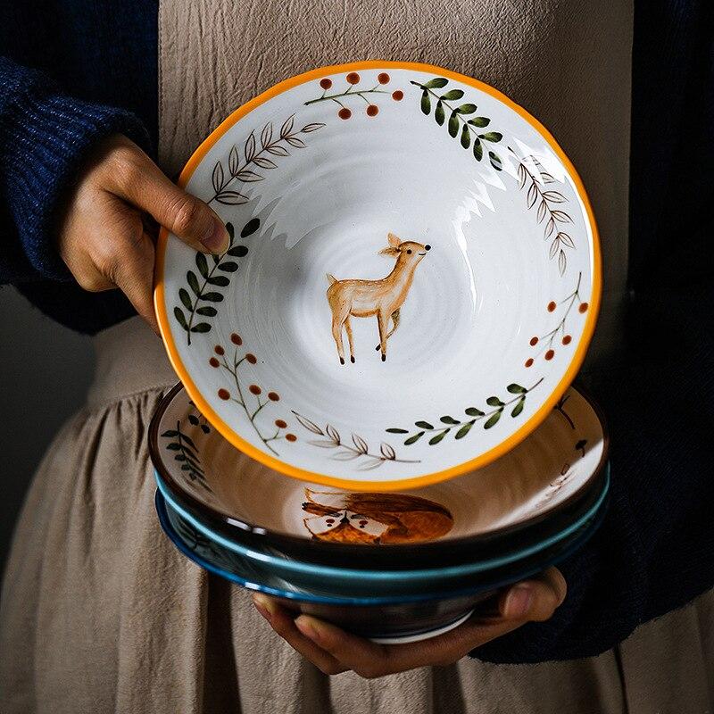 8 inch Ceramic Bowl Noodle Bowl Forest Animal Design Large Bowl Creative Restaurant Household Flower Bowl|Bowls| |  - title=