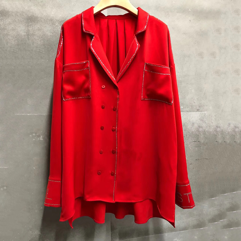 Красная блузка Топ для женщин Лето отложной воротник Леди с длинным рукавом Блузка 2019 Винтаж для женщин бриллиантами