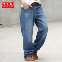 Business Casual Pants 2018 Spring Straight Hot Fashion Brand Jeans For Mens Solid Loose Fit Jean