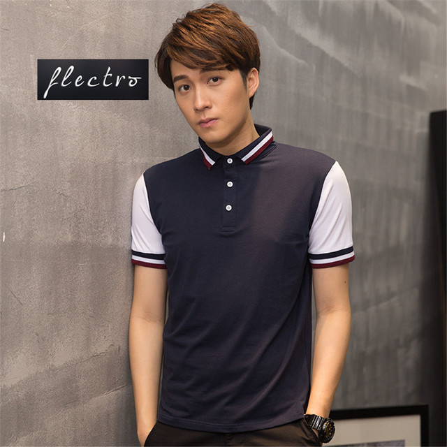 Brand Mens Polo Shirts Spell Color Cotton Men Leisure Short Sleeve Breathable Mens Clothing Casual Slim Polos Shirt Tops Tees