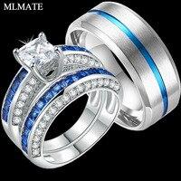 Обручение Свадебные пары набор колец женские 2 шт. Принцесса Белый CZ синий, мужские 316L нержавеющая сталь ювелирные изделия