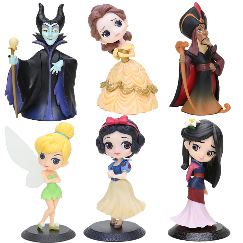 14cm Princess Figure Brinquedos Q Posket Princess Snow White Belle Mulan  Action Figure PVC Collection Model Toy