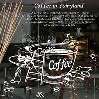 Vinyl Wall Decal Creative Coffee Cup Milk Tea Window Glass Sticker Coffee Shop Decoration Removeable Decorative Decoration