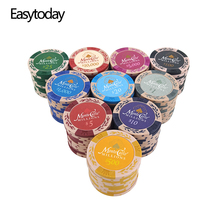 Easytoday 25Pcs/set Professional Poker Chips 14g Clay Coins Baccarat Texas Holdem 11 Face Values Entertainment Game