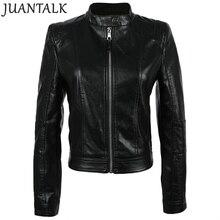 Juantalk модный бренд Демисезонный Для женщин воротник-стойка из искусственной мягкой кожи куртка PU Молнии с длинным рукавом Тонкий Пальто