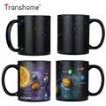 Transhome Creative Porcelain Mug Ceramic Solar Color Changing Mug Magic Coffee Cup Travel Coffee Mugs Portable Tea Cup 380ml