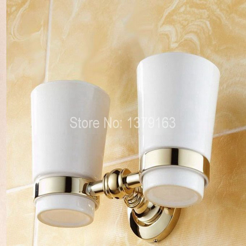 Golden Polished Gold Color Brass Bathroom Bath Tumbler Holder with Double Ceramics cup Wall Mount aba138 pvd ti golden brass gold double tumbler holder cup