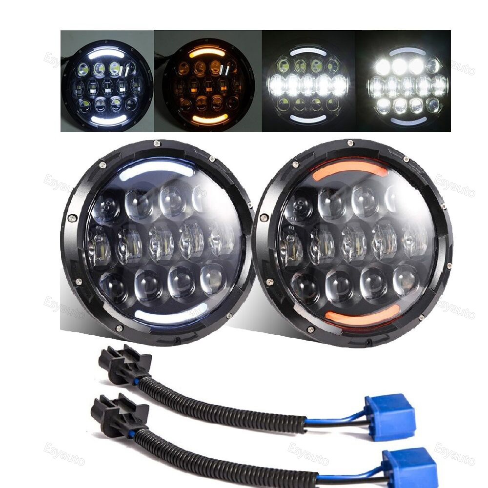 2PCS 7 Inch Round LED Headlight with White/amber Lighting color DRL 7'' High/Low Beam Headlamp for Jeep Wrangler 2pcs 7 inch round led headlight with white amber lighting color drl 7 high low beam headlamp for jeep wrangler