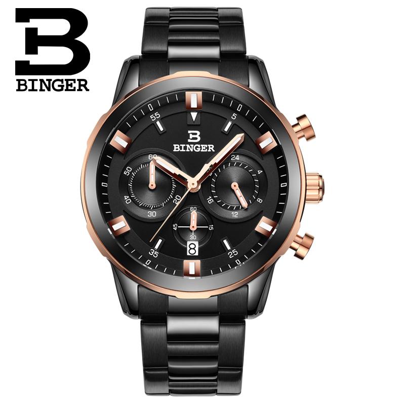 Prix pour 2016 nouvelle montre chronographe hommes Sport militaire montres BINGER marque en acier inoxydable montres à Quartz étanche B-9011G
