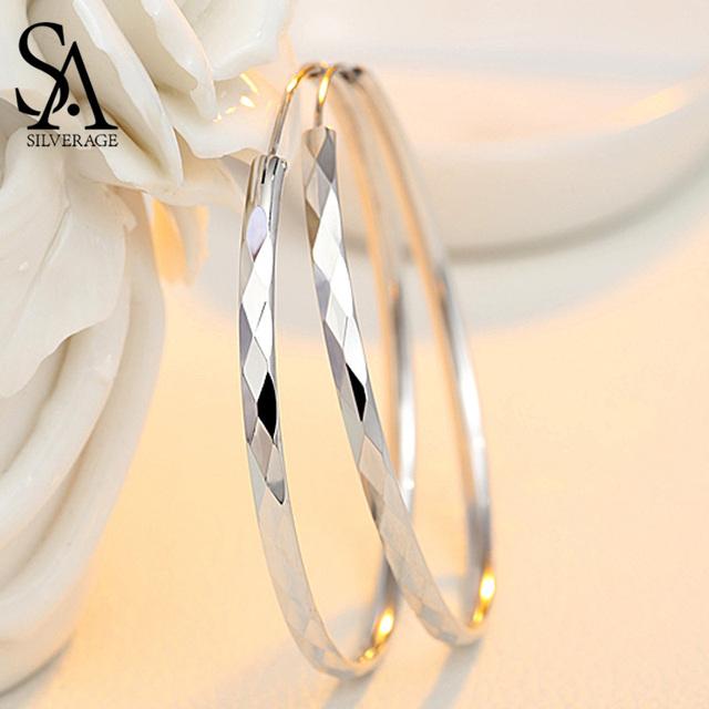 SA SILVERAGE Silver Fine Jewelry Hoop Earrings for Women Hanging Earrings Silver Long Earrings 2019 Silver 925 Huggie Earrings