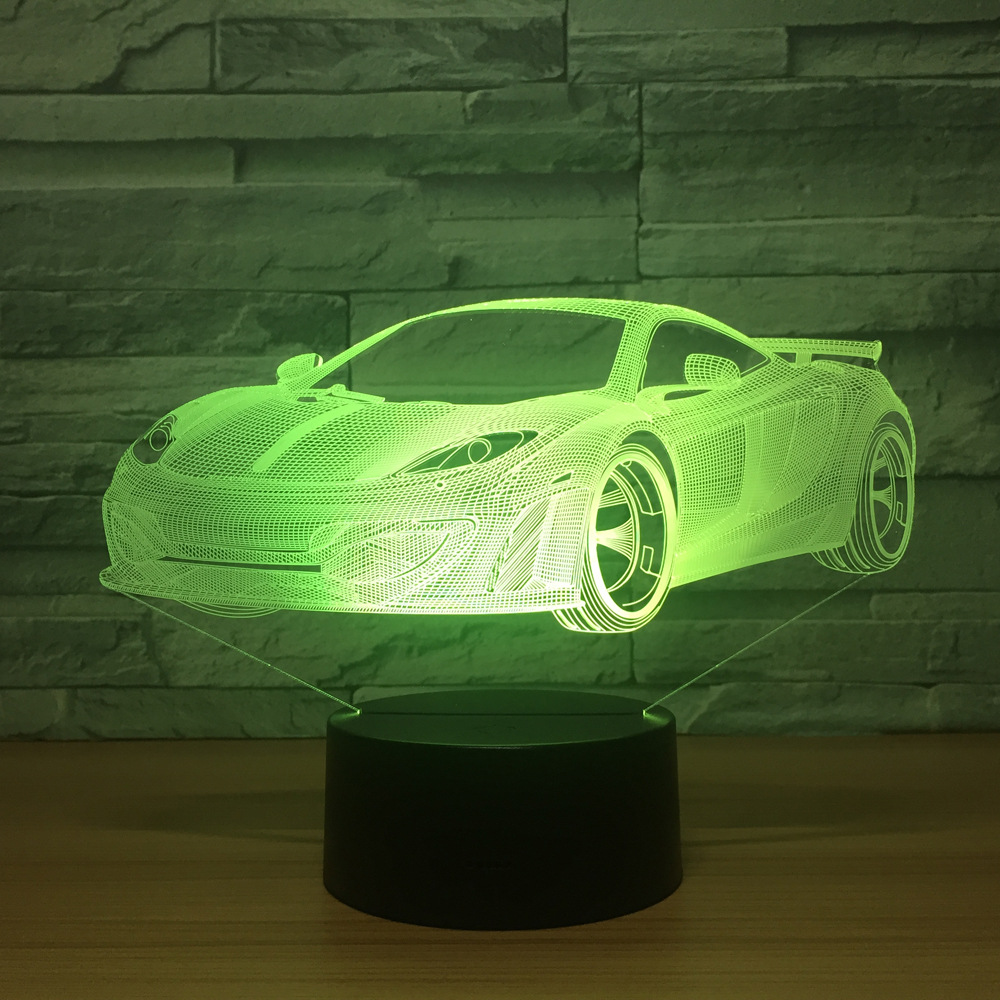 Cool Car Acrylic 3D Hologram Lamp 7 Color Change Night Light Baby Touch Switch Colored Lights LED USB Desk Lamp Atmosphere Lamp
