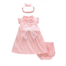 New girl sweet puff sleeve dress 2019 summer baby clothes pink bow dress+headwear+shorts three-piece for 0-3 year old