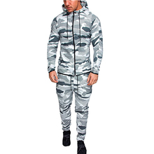 New Fashion Men Set Camouflage Tracksuit Hoodies+Pants Set Male 2 pieces Outdoors Suit Men's Gyms Set Casual Sportswear Suit male youth fashion sportswear men s casual suit
