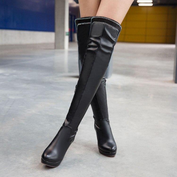 Botas Cuero Otoño 2016 Elegante Negro Punta blanco Invierno Zapatos Alto Redonda Mujeres Ocio Tacones Nuevo 7155 Fino Atractivas Talón Tacón xXaCdqar