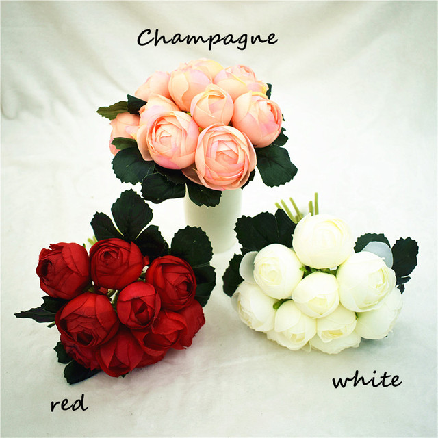 Decorative Artificial Flower Blush Rose Flowers Bouquet For Home Wedding