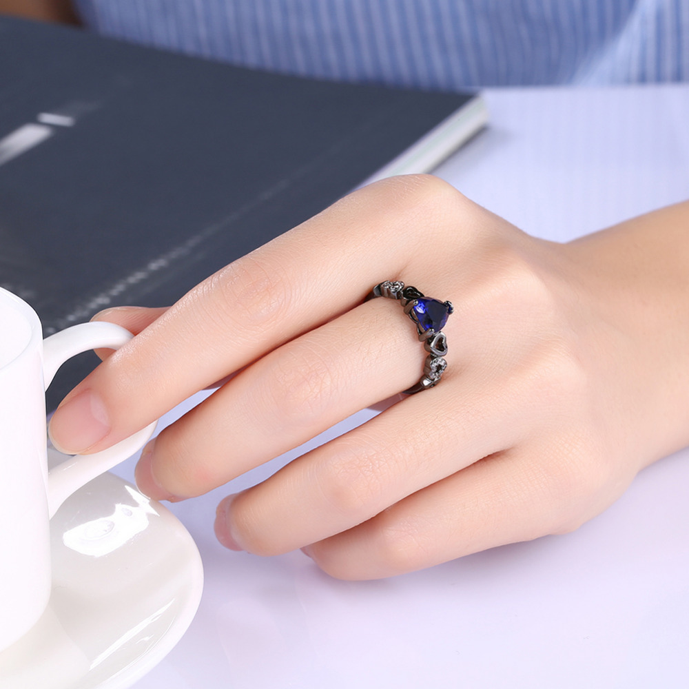 Romantic Black Gun Plated Rings For Women Blue Cubic Zirconia ...