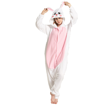 Cheap White Rabbit Adult Kigurumi Bunny Pajamas Polar Fleece One-piece Jumpsuit Pijama Cosplay Parties Animal Onesies Halloween pajamas