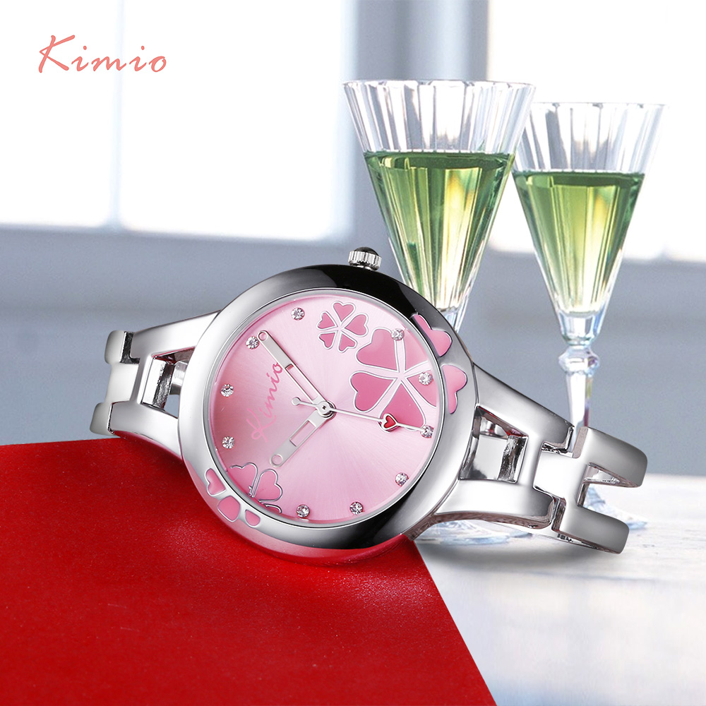 KIMIO Carving Clover Flower Womens Watches Top Brand Quartz Watch Women Dress Bracelet Watch Casual Women's Watches Wristwatch chic faux turquoise carving flower bracelet for women