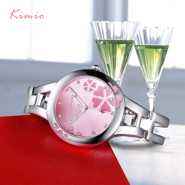 KIMIO Carving Clover Flower Womens Watches Top Brand Quartz Watch Women Dress Br