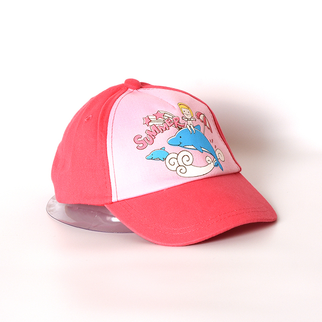 Cartoo Dolphin Girls Hat Baby Girl Cap Cotton Children Baseball Cap Pink  Adjustable for 6 Months to 2 Years Old Kids dcda1123af6
