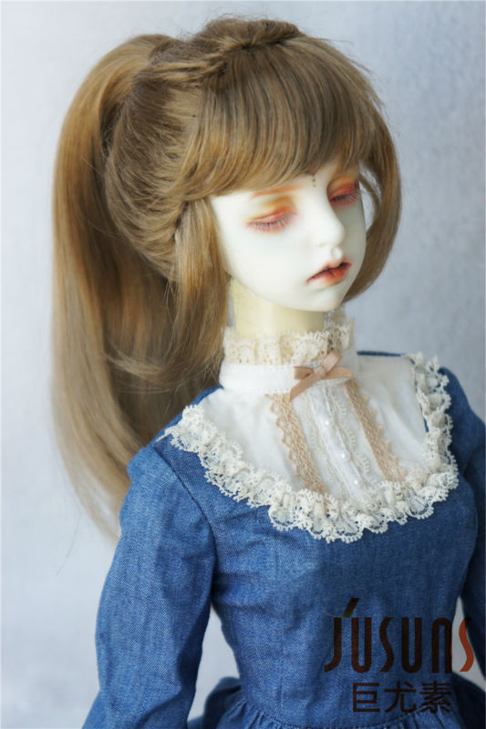 JD289 1/3 21-23 Synthetic mohair BJD wigs SD High single ponytail wig with full bangs Nobel lady doll hair 65cm synthetic wigs hrajuku lolita long curly clip on ponytails cosplay flat bangs anime full hair wig pink