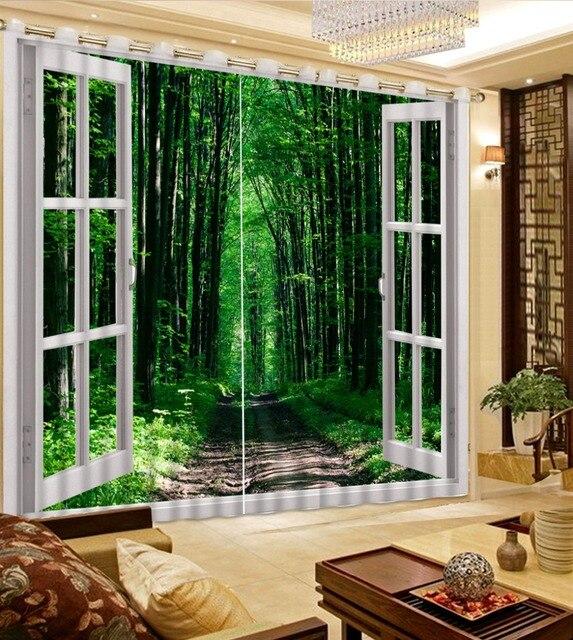 Modern 3D Curtains Window Bamboo Landscape HD Beautiful Kitchen Blackout Becoration Curtain