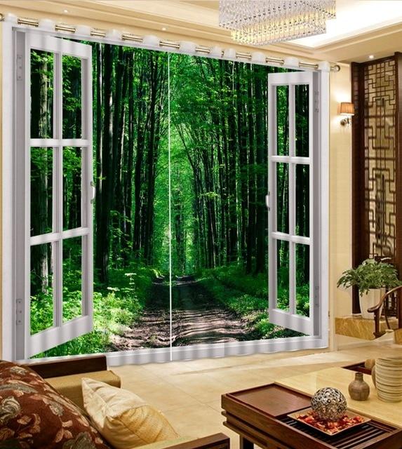 Moderno 3D Finestra Tende Di Bambù Paesaggio HD bella Cucina Tende ...
