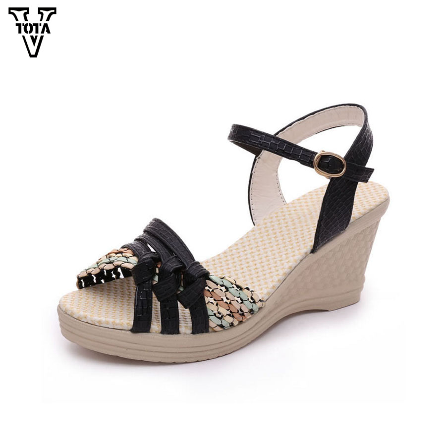 VTOTA Summer Pep-toe sandals women Increased Thick Heel shoes woman Wedge Summer Shoes Back Strap Platform Shoes For Ladies 2016 new summer pep toe woman sandals platform thick heel summer women shoes hook