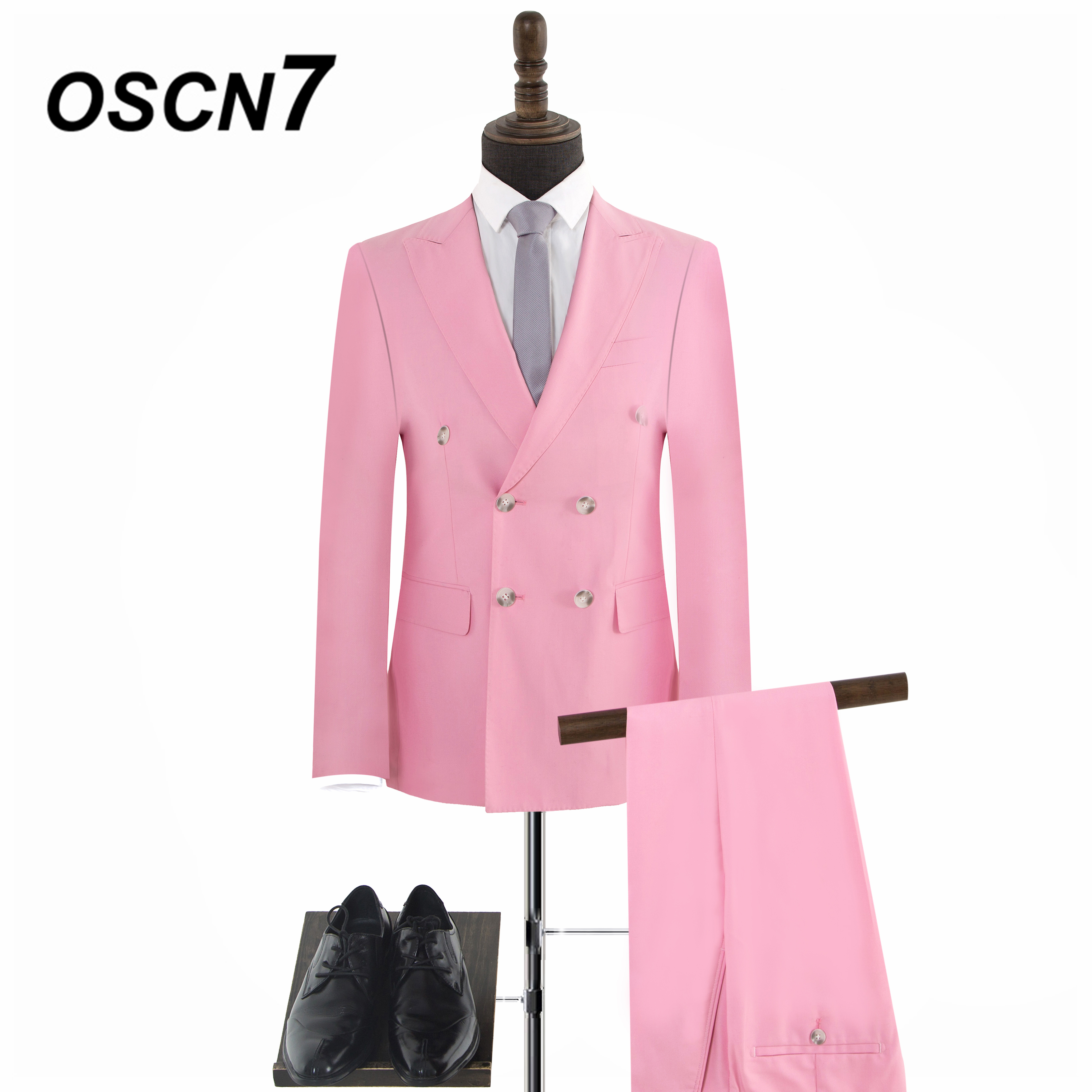 OSCN7 Pink Peak Lapels Double-breasted Tailor Made Suits