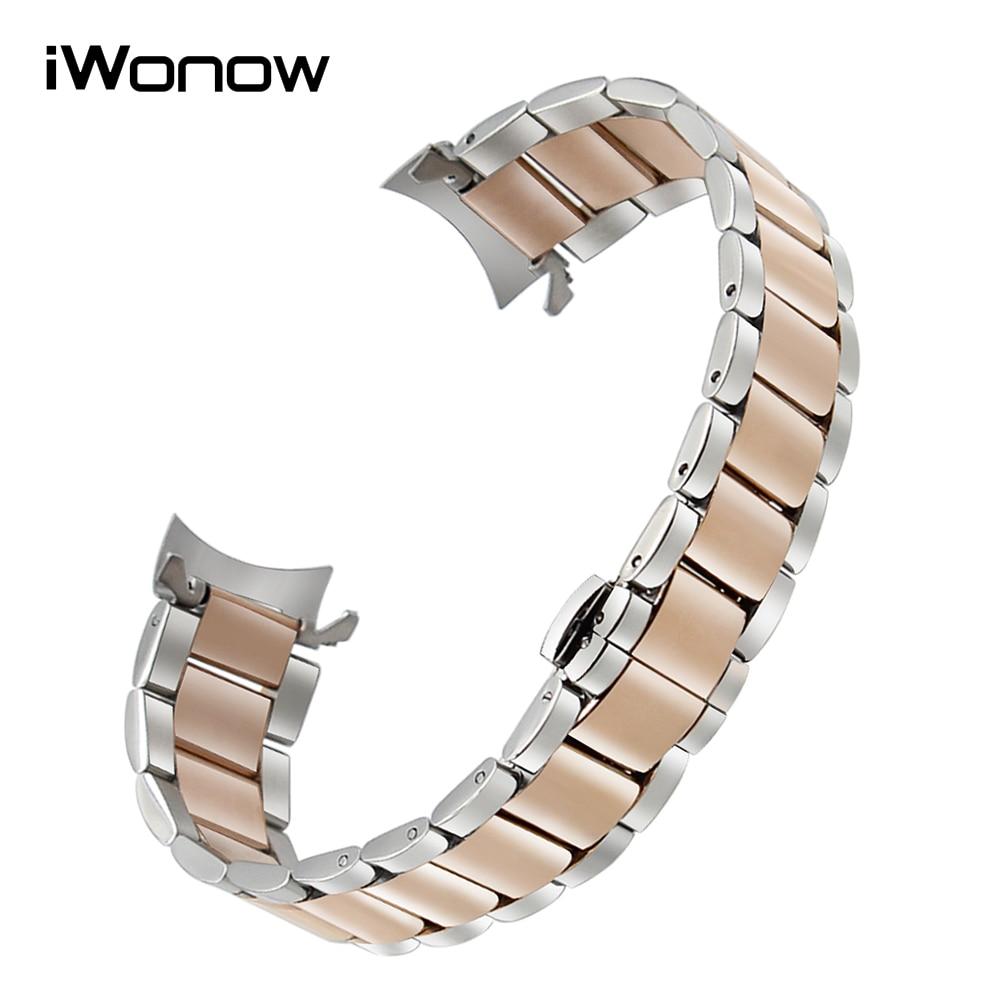 где купить  20mm Curved Stainless Steel Watchband for Gear S2 Classic R732 R735 Moto 360 2 42mm Men Garmin Vivomove Watch Band Wrist Strap  по лучшей цене
