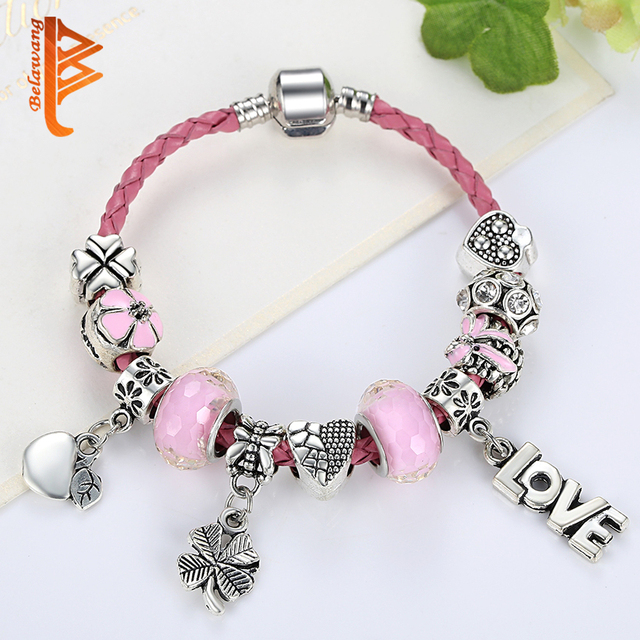 Fashion Sweet Heart Flower Charms Bracelet for Women Pink Murano Glass Beads Bracelet Silver Color DIY Jewelry