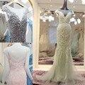 A Personalização avançada Elegante Mãe Do Vestido Da Noiva Sereia Tulle Frisado Longo Cinza vestido de Noite vestido de Festa Vestido De Madrinha