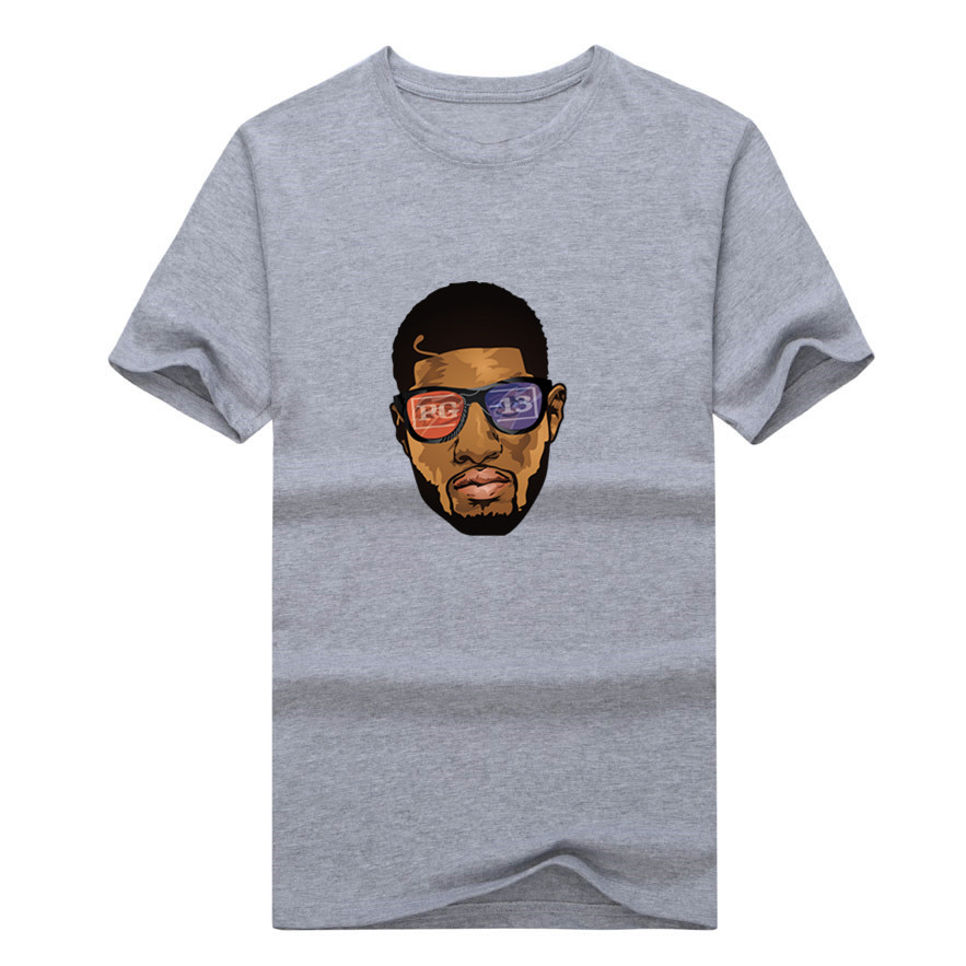 2017 Fashion Paul George Pacers King George T-shirt Tee 100% Cotton fans 13 T shirt 0112-30