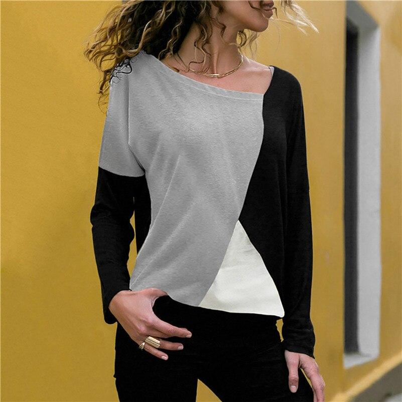 Patchwork Color Block Long Sleeve Blouse Tops Women Autumn Slim Shirt Blouse Clothes Blusa Feminina Camisa Drop Shipping #2s #1