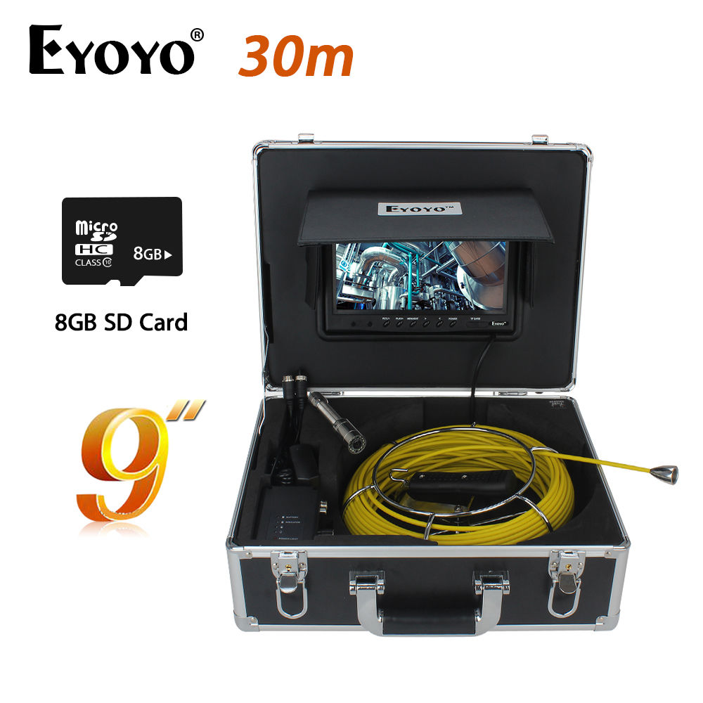 Eyoyo WP90A9 800x480 9 LCD 30M/98ft 1000TVL HD 23mm Sewer Pipe Pipeline 12PCS White LEDS Camera Drain Inspection Cam Waterproof dhl free wp90 50m industrial pipeline endoscope 6 5 17 23mm snake video camera 9 lcd sewer drain pipe inspection camera system