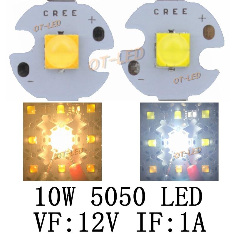 10PCS 10W 12V 1A Tdled Ceramic 5050 Cold White Warm White High Power LED Emitter Diode Instead Of CREE XML XM-L T6 LED For DIY