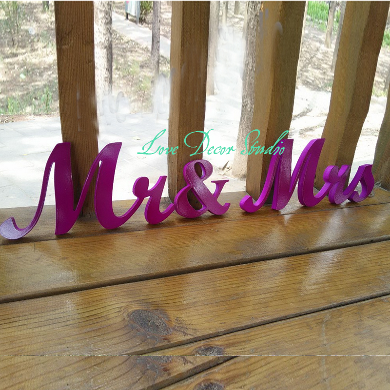 Purple Wedding Centerpiece Glitter Mr Mrs Sign Wedding Decoration