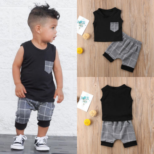 Fashion Newborn Infant Baby Boy Summer Sleeveless Vest Tops Plaids Short Outfits Clothing Set Kids Outfits