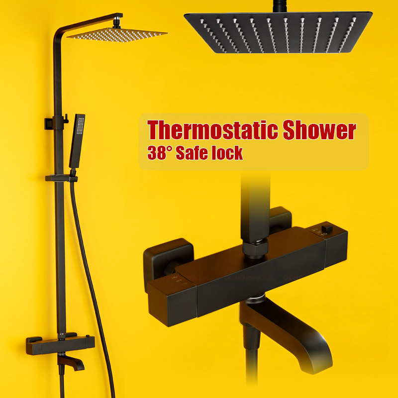 Black Plated Thermostat Control Bath Shower Set Brass Quality Double Handle Shower Mixer Valve Faucet 10 Inch Rain Shower Head taie thermostat fy800 temperature control table fy800 201000