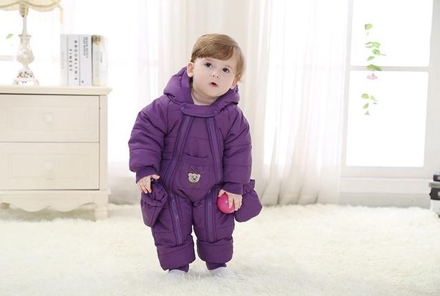 Mono bebé ropa gruesa caliente de la caída y ropa de invierno recién nacido al aire libre en invierno ropa de escalada Mameluco trajes de baño acolchada 2