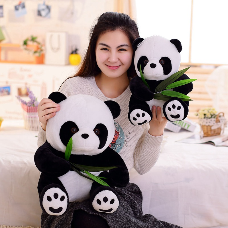 9-20cm Vivid Funny Panda With Bamboo Leaves Plush Toys Soft Cartoon Animal Black And White Panda Stuffed Pendant Doll Kids Gifts