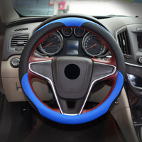 2017 Car Steering Wheel Cover New Sport Racing Style 38cm Leather Universal 7 Colors DIY