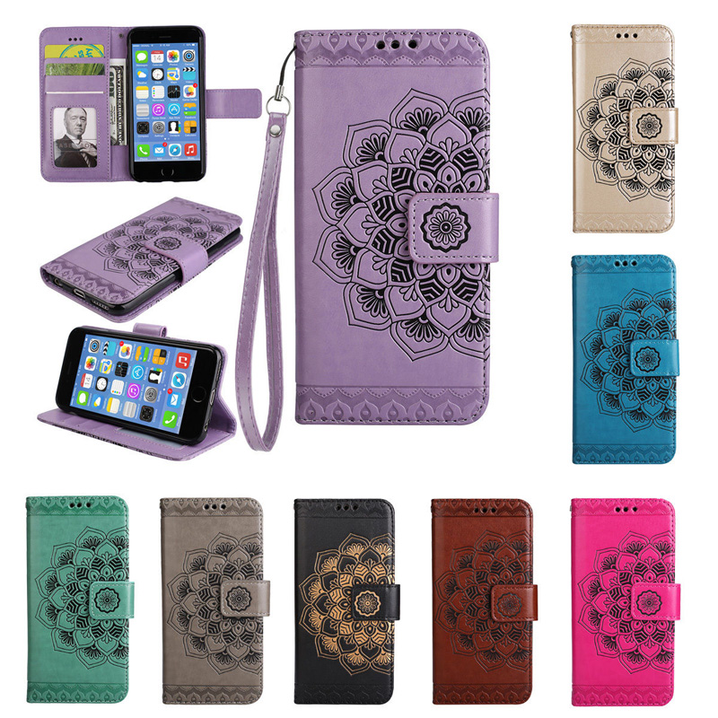 Half Flower Magnetic Flip PU Leather Wallet Stand Case Cover For iPhone 8 7 7 Plus 6G 6S Plus 5G 5S SE