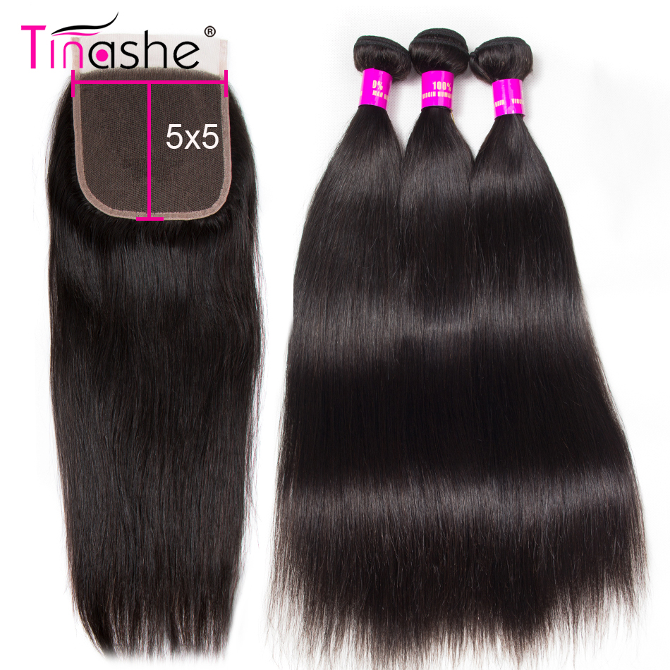 Tissage en lot brésilien Remy naturel avec Lace Closure-Tinashe, cheveux lisses, 5x5, lot de 3
