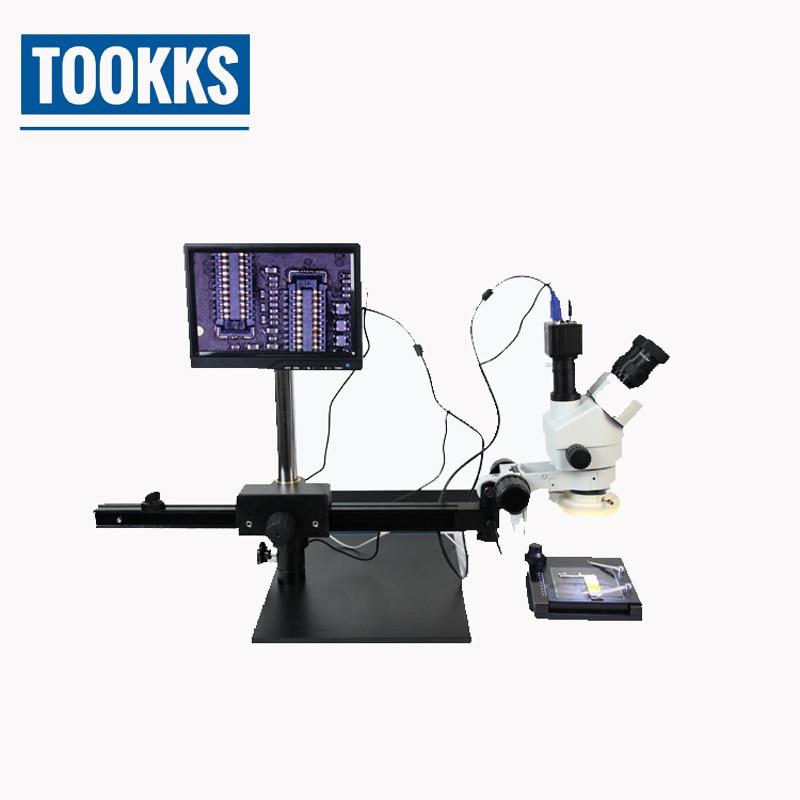 TBK-45P Microscope en métal lourd support solide 7X-45X Zoom Microscope avec écran d'affichage TV pour la réparation de carte mère Mobile BGA PCB