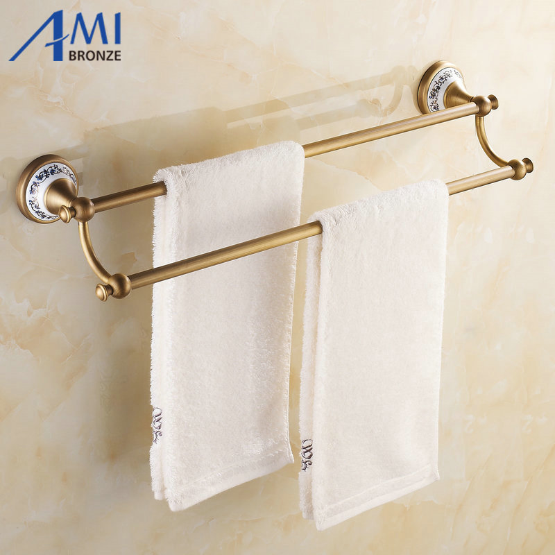 AP1 Series Antique Brass Brush Porcelain Base Wall Mounted Bathroom Accessories Double Towel Bar Towel Rack 410aap series antique brush aluminum porcelain base wall mounted double towel bar bathroom accessories towel rack towel shelf