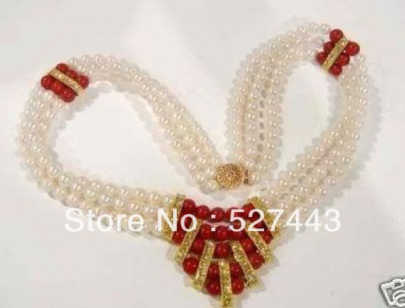 Wholesale free shipping >>Beautiful 8mm CHARMING 3 ROWS WHITE PEARL& RED CORAL NECKLACE free shipping hot sale jewelry 3 rows oval white black pearl necklace