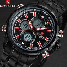 NAVIFORCE мужчины часы мода повседневная бренд мужской двойной дисплей часы цифровой аналоговый СВЕТОДИОДНЫЕ Электронные кварцевые наручные часы 3ATM часы