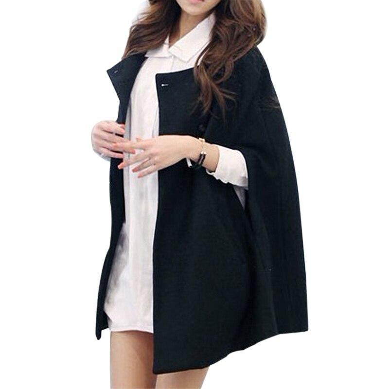 6d460302288 Women Batwing Wool Poncho Winter Warm Ladies Coat Jacket Loose Cloak Cape  Parka Outwear