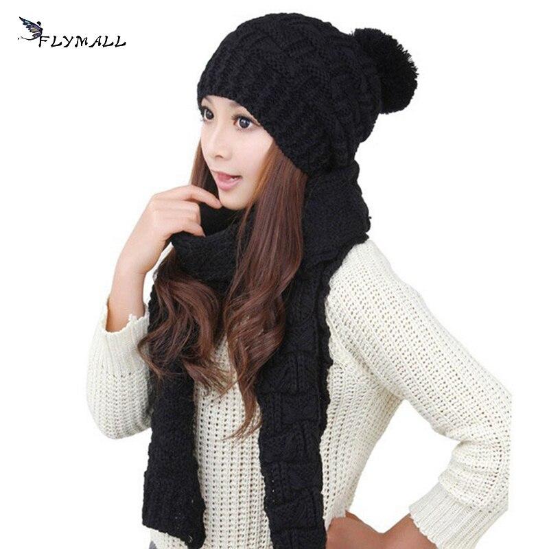 FLYMALL 1Set Fashion Winter Hat Scarf Cute Knit Crochet Beanies Cap Hats For Women Warm Scarf